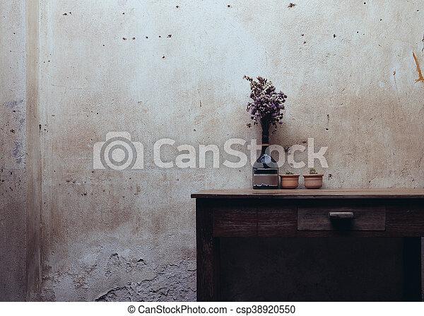 stock bilder von trocken, stil, blume, hölzern, weinlese, tisch, Esszimmer dekoo