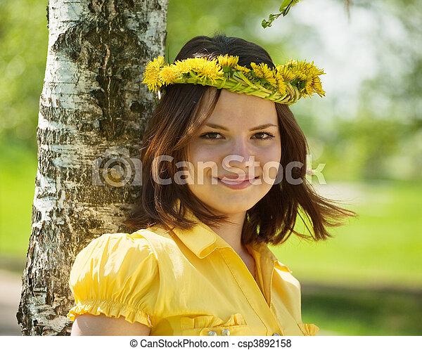 girl in dandelion wreath