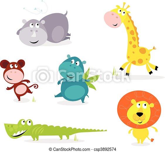 Six cute safari animals - giraffe, - csp3892574