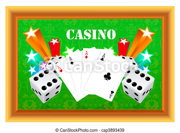 gambling illustration with casino elements  - csp3893439