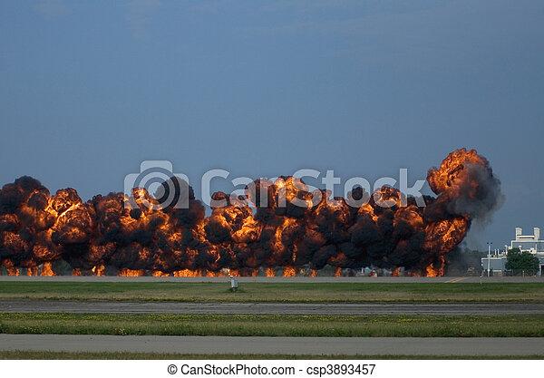 Tarmac Pyrotechnics at Oshkosh Airshow - csp3893457