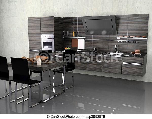 Küchen modern art  Clipart von modern, kueche - der, modern, kueche ...