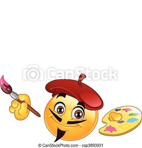 vector clip art of painter emoticon holding a paintbrush Painter Silhouette Clip Art Paint Clip Art