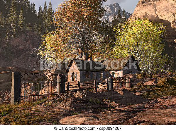 Mountain Cottage And Gate Landscape - csp3894267
