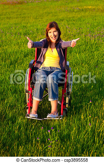 Handicapped woman on wheelchair - csp3895558