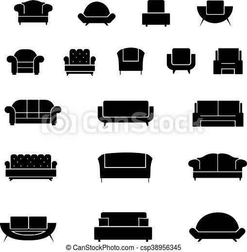 Stühle clipart  EPS Vektor von stühle, satz, sessel, heiligenbilder, sofa, couch ...
