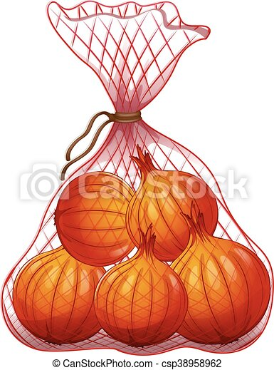 Clip Art Vector of Onions packed in net bag illustration ...