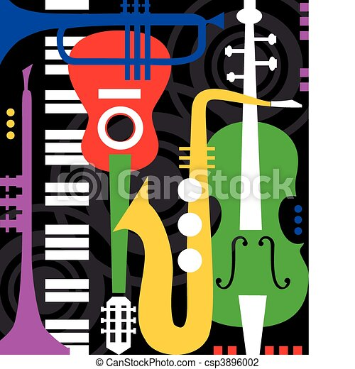 Music instruments on black - csp3896002