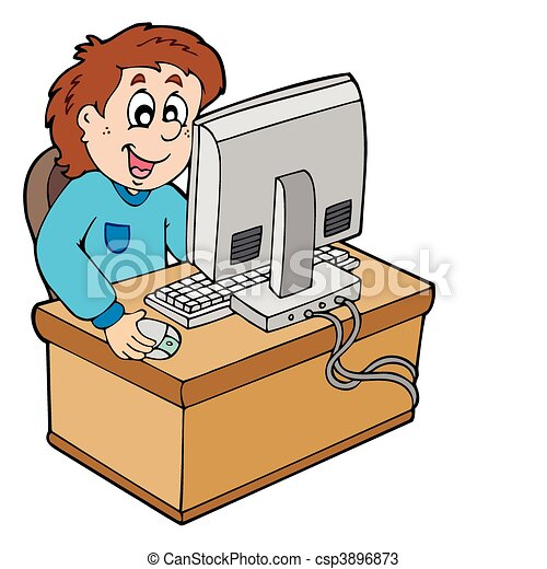 caricatura, niño, trabajando, computadora - csp3896873