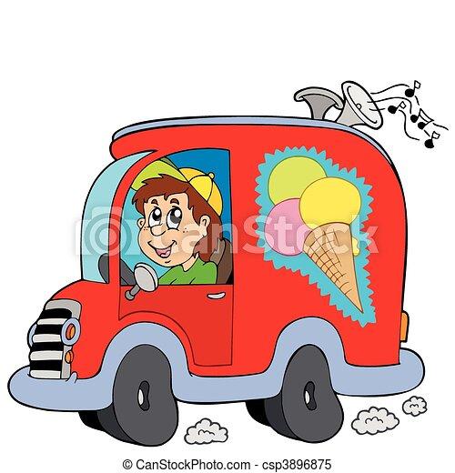 Cartoon ice cream man in car - csp3896875