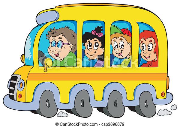 Cartoon school bus with kids - csp3896879