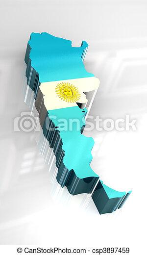3D, bandera, mapa, Argentina - csp3897459