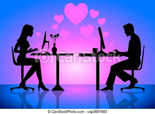 Dessins de virtuel amour une illustration couples ligne csp3897683 recherchez des - Coloriage virtuel ...