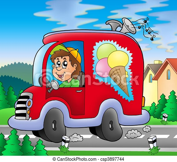 Ice cream man driving red car - csp3897744