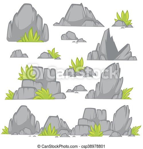 Clipart vecteur de plat pierre rocher style dessin anim rocher pierre csp38978801 - Rocher dessin ...