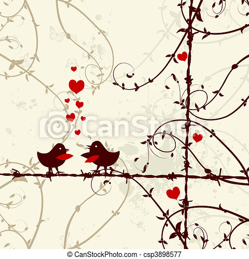 Love, birds kissing on branch - csp3898577