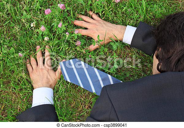 businessman lies prone on grass, top view - csp3899041