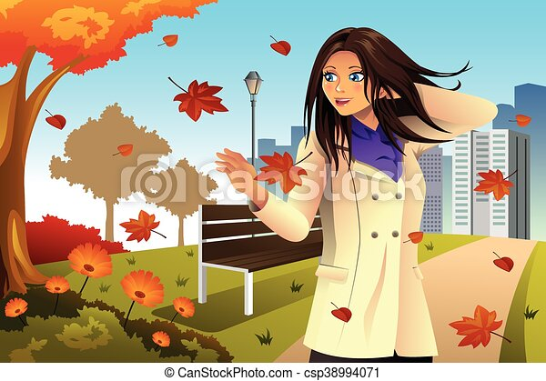 Autumn Girl Walking in the Park - csp38994071