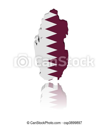 Qatar map flag 3d render with reflection illustration - csp3899897