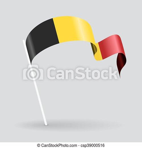 Belgian wavy flag. Vector illustration. - csp39000516