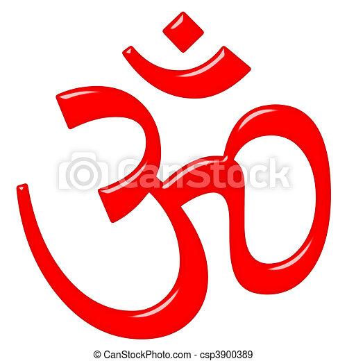 3D Hinduism Symbol Aum - csp3900389