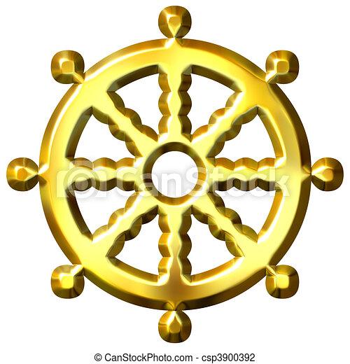 clip art de roue dor symbole dharma bouddhisme 3d 3d dor csp3900392 recherchez. Black Bedroom Furniture Sets. Home Design Ideas