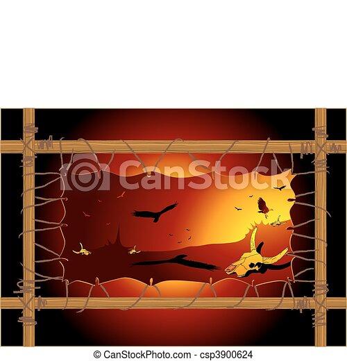 Dry desert, vulture and cow skull  - csp3900624