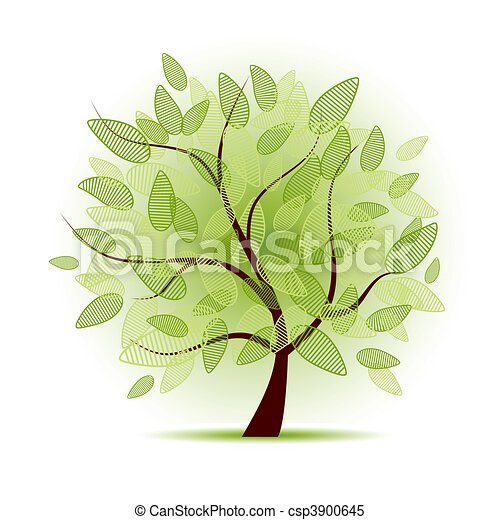 Art tree beautiful for your design - csp3900645