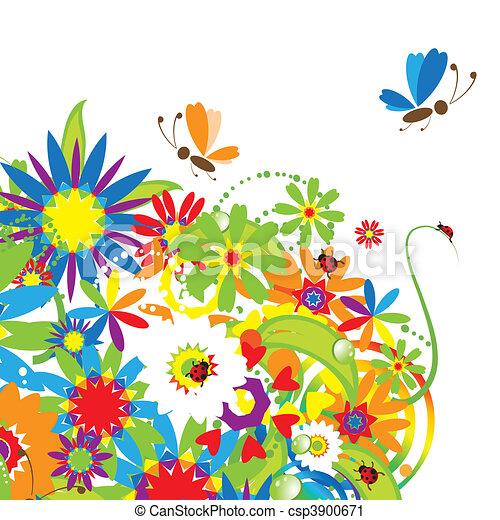 Floral bouquet, summer illustration - csp3900671