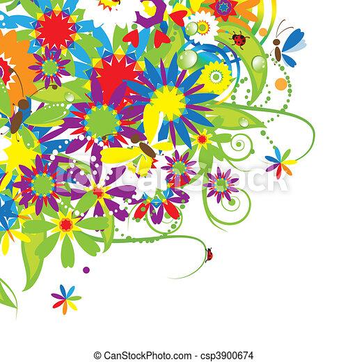 Floral bouquet, summer illustration - csp3900674