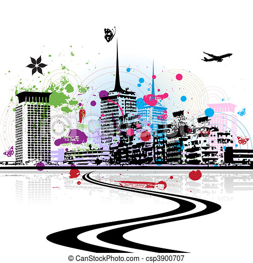 Cityscape background, urban art - csp3900707