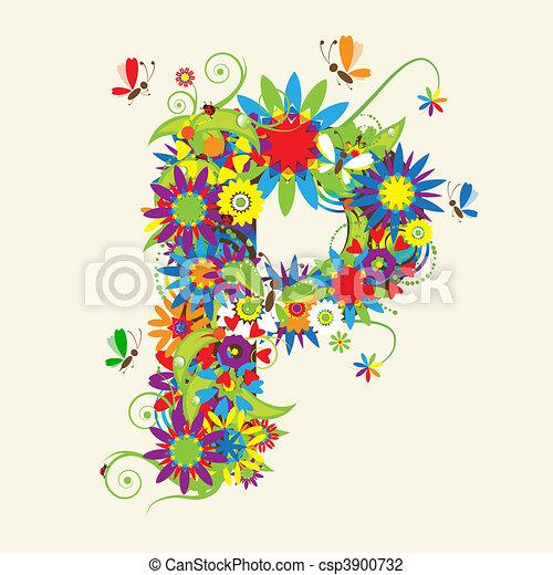 P Alphabet Wallpaper In 3d Vecteur - lettre, P, floral, conception, Voir, aussi, lettres, mon ...