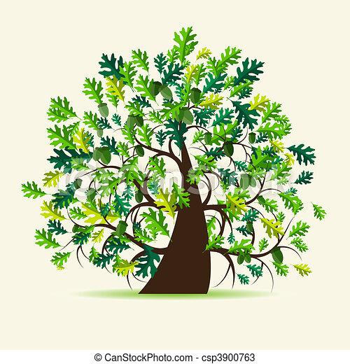 Oak tree, summer - csp3900763