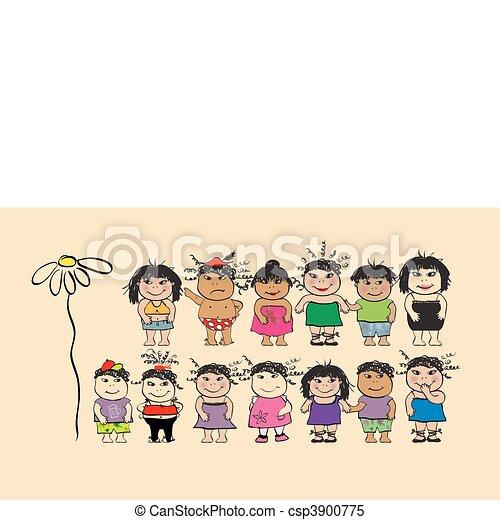 divertido, Pueblos, caricatura - csp3900775