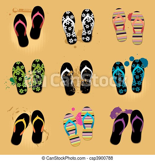 Beach sandals on sand - csp3900788