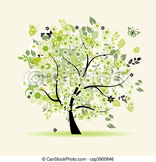 Floral tree beautiful vector clipart instant download for Beautiful drawings of trees