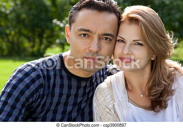 married couple outdoors - csp3900897