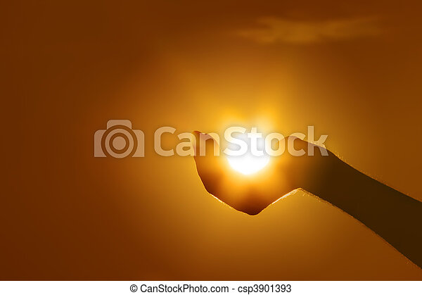 sun on hand gesture - csp3901393