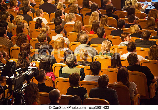 Moscow - MARCH 28: Audience on KVN - Club cheerful and resourceful in Theatre of the Russian army March 28, 2008 in Moscow, Russia. KVN - one of most popular russian TV-show. - csp3901433