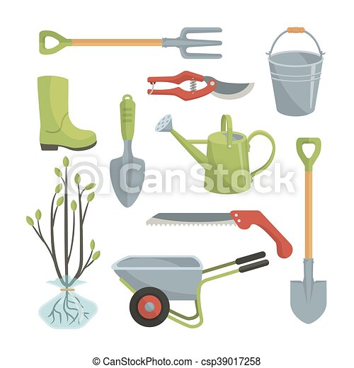 Clipart Vector of Set of various agricultural tools for ...