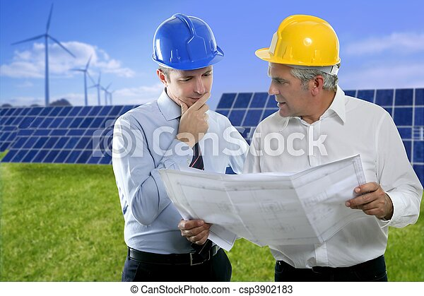 two engineer architect plan hardhat solar plates - csp3902183