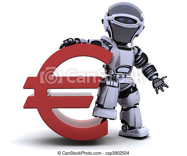 robot with euro symbol - csp3902504