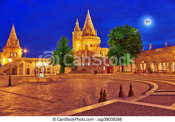 View on the Old Fisherman Bastion in Budapest. Night time. - csp39039266