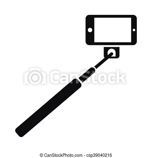 vector clip art of selfie stick and smartphone icon simple style selfie csp39040216. Black Bedroom Furniture Sets. Home Design Ideas