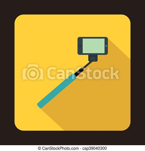 vector clipart of selfie stick and smartphone icon flat style selfie stick csp39040300. Black Bedroom Furniture Sets. Home Design Ideas