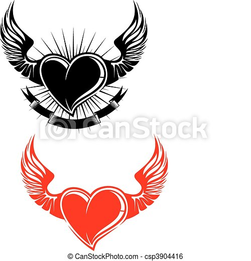 Heart with wings - csp3904416