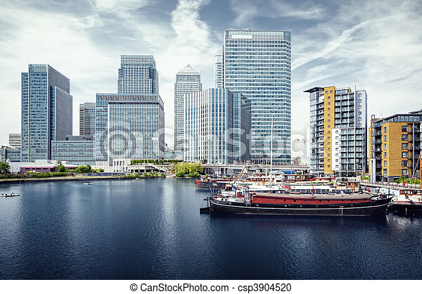 Canary Wharf view from West India Docks.  - csp3904520