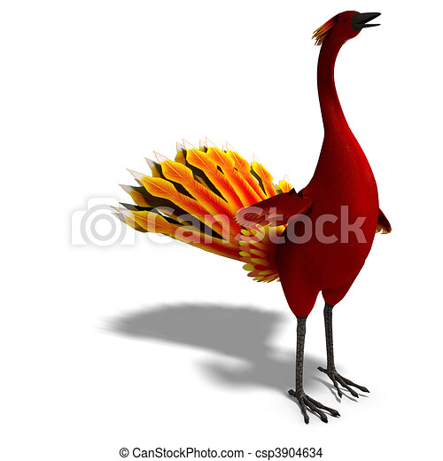 red fantasy bird with beautiful feathers. 3D rendering and shadow over white - csp3904634