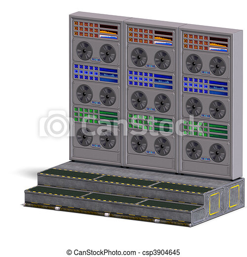 a historic science fiction computer or mainframe. 3D rendering and shadow over white - csp3904645