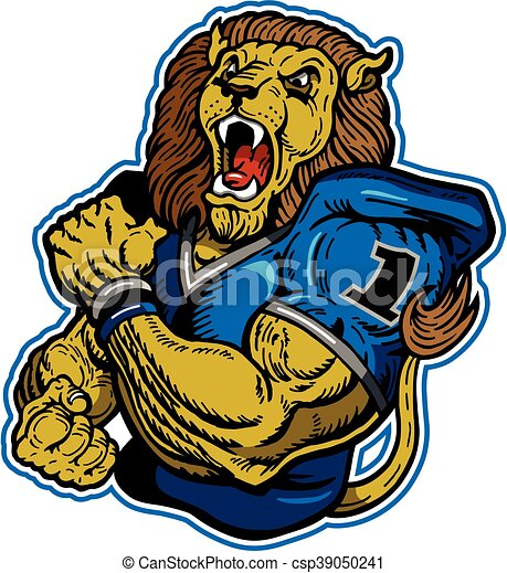 EPS Vector Of Lions Football Team Design With Muscular Mascot For
